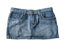 Jeans mini skirt stock images