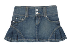 Jeans miniskirt. Isolated on white Stock Images