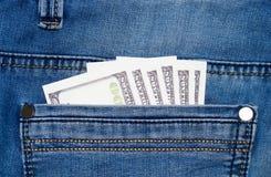 Jeans mit Dollar in der Tasche Lizenzfreie Stockfotos