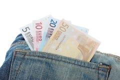 Jeans mit Euroanmerkungen in der Tasche Lizenzfreie Stockbilder