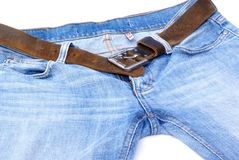 Jeans mit Gurt. stockbild