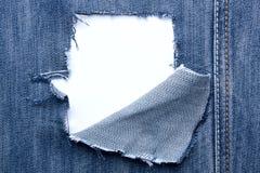 Hintergrund - Jeans mit Löchern und Platz für Text Lizenzfreie Stockfotos
