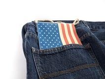 Jeans mit USA-Markierungsfahne Stockbild
