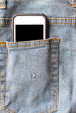 Jeans and mobile phone. Royalty Free Stock Photo
