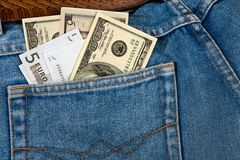 Jeans with money. Royalty Free Stock Image