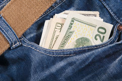 Jeans and Money. New jeans and money in a pocket Royalty Free Stock Photography
