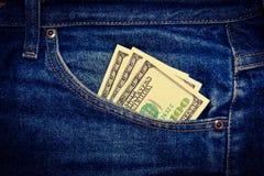 Jeans and money, fabric, denim indigo Royalty Free Stock Photos