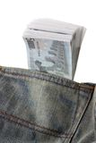 Jeans with pack of five euro notes in pocket Royalty Free Stock Photo