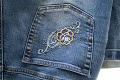 Jeans pants with embroidery Royalty Free Stock Image