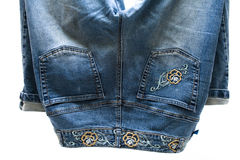 Jeans pants with embroidery Royalty Free Stock Photo