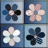 Jeans patchwork with applique of flowers Stock Images