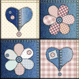 Jeans patchwork with applique of flowers and Stock Image