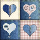 Jeans patchwork with applique of hearts Stock Photos