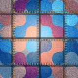 Jeans patchwork with geometric pattern. Stock Photo