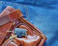 Jeans phone keys.. everything you need stock images