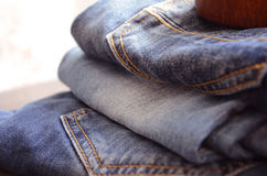 Jeans. Pile of Jeans Close Up stock photography