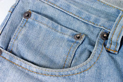 Jeans with pocket. Closeup of blue jeans with pocket stock photography