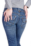 Jeans pocket. In jeans with white background royalty free stock photography