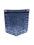 Jeans Pocket. Blue jeans back pocket isolated on white with clipping path stock images