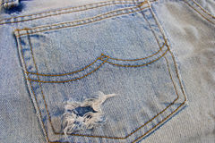 Jeans pocket. Close up blue Jeans pocket stock image
