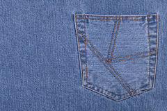 Jeans pocket. Copy space on leaft Stock Image