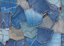Jeans pocket. Background of different jeans pocket royalty free stock photos