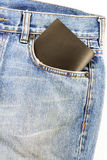 Jeans pocket with a black card Stock Photography