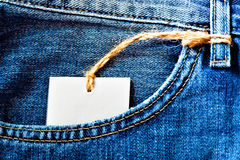 Jeans pocket with blank label Stock Photography