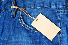 Jeans pocket with blank label Royalty Free Stock Image