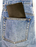 Jeans pocket with blank note Royalty Free Stock Image