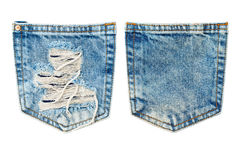 Jeans pocket. Blue jeans pockets isolated on white stock photo