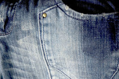 Jeans pocket close up. Old blue jeans pocket close up Stock Photos