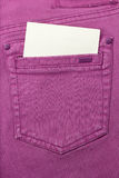 Jeans Pocket. Close up of jeans pocket with blank paper Stock Photography
