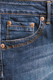 Jeans pocket. Close-up of blue jeans pocket Royalty Free Stock Photography