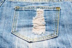 Jeans pocket. Close up of rip blue jeans pocket for background stock image