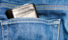 Jeans pocket with wallet Royalty Free Stock Images