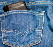 Jeans pocket with wallet Stock Photo