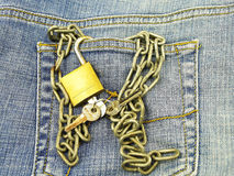 Jeans pocket and padlock Stock Images