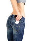 Jeans pocket with empty label Royalty Free Stock Photo