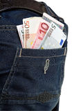 Jeans pocket with euro Royalty Free Stock Photography