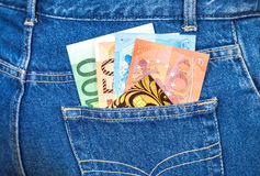 Jeans pocket with euro notes and credit card Stock Photography