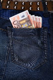 Jeans pocket with Euros Stock Images