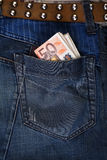Jeans pocket with Euros Royalty Free Stock Images