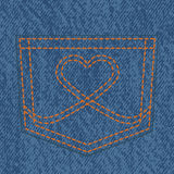 Jeans pocket and heart shaped stitch Royalty Free Stock Photos