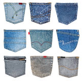 Jeans pocket isolated. Collection of different jeans pocket isolated on white stock photos