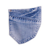 Jeans pocket. Isolated on white background stock photo