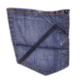 Jeans pocket. Isolated on white background royalty free stock photography