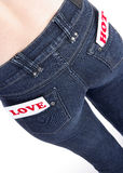 Jeans pocket with labels Stock Photo