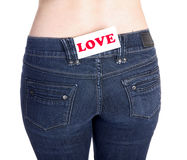 Jeans pocket love Royalty Free Stock Photography