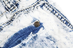 Jeans pocket with metal rivet Stock Photos